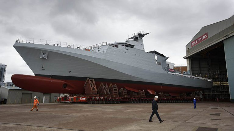 Photo-BAE-reveals-first-Royal-Navy-offshore-patrol-vessel-HMS-Forth-ahead-of-launch-768x432