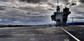 A still image taken during the unauthorized flight above and on the HMS Queen Elizabeth.