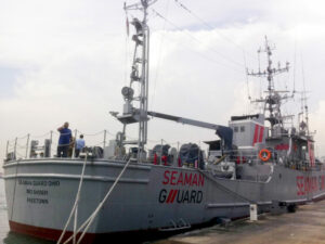 The MV Seaman Guard Ohio, owned by a U.S.-based security firm, was intercepted by the Indian Coast Guard off the southeastern state of Tamil Nadu